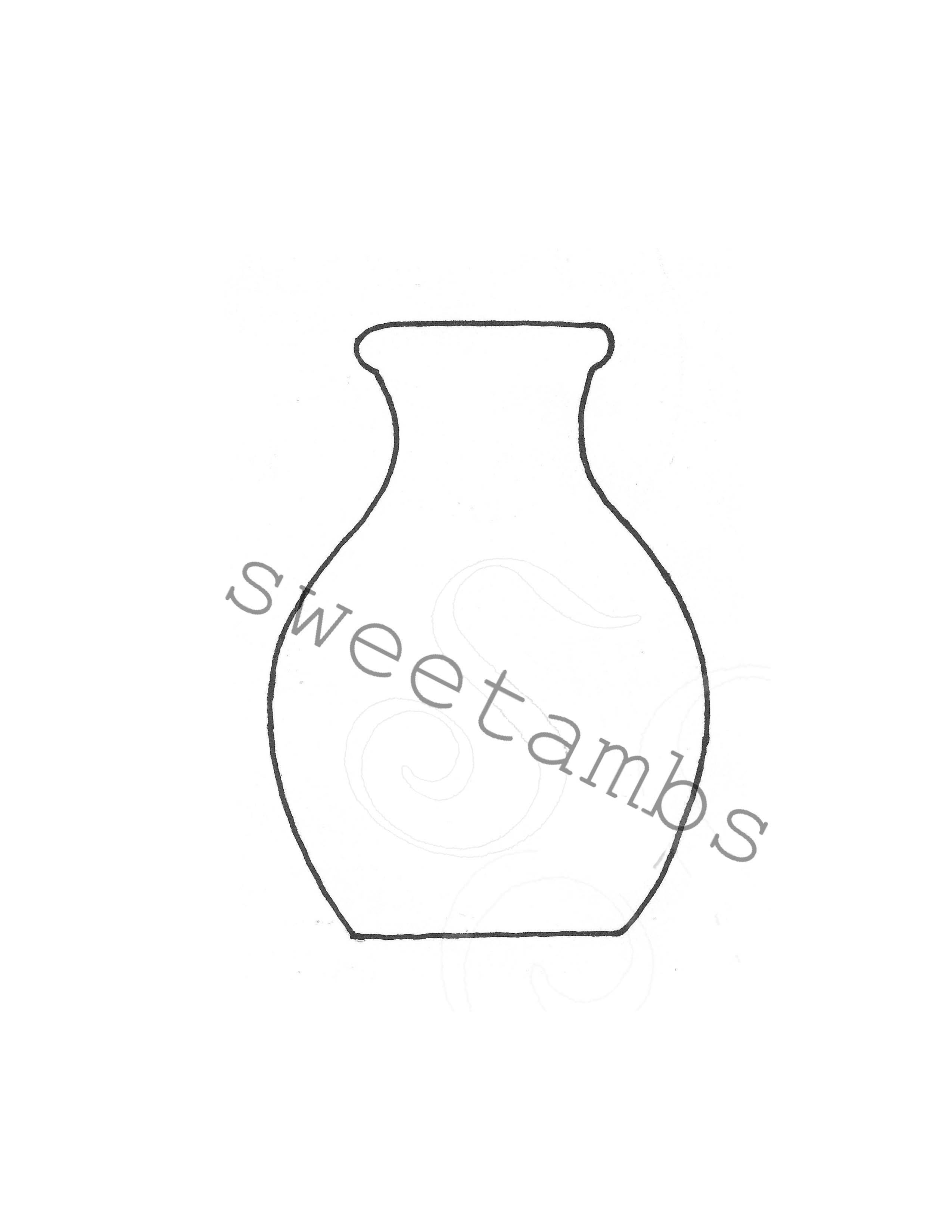 Persnickety image with vase template printable