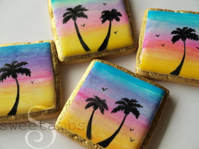 Hand Painted Cookies Sunset