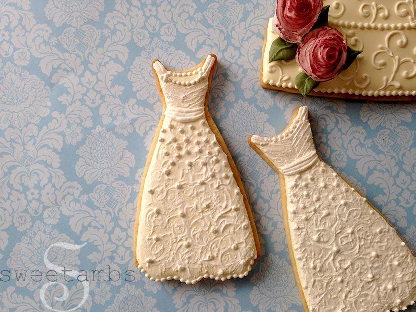 Wedding dress cookies pictures