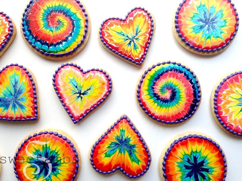 Rainbow Tie Dye Cookies!SweetAmbs