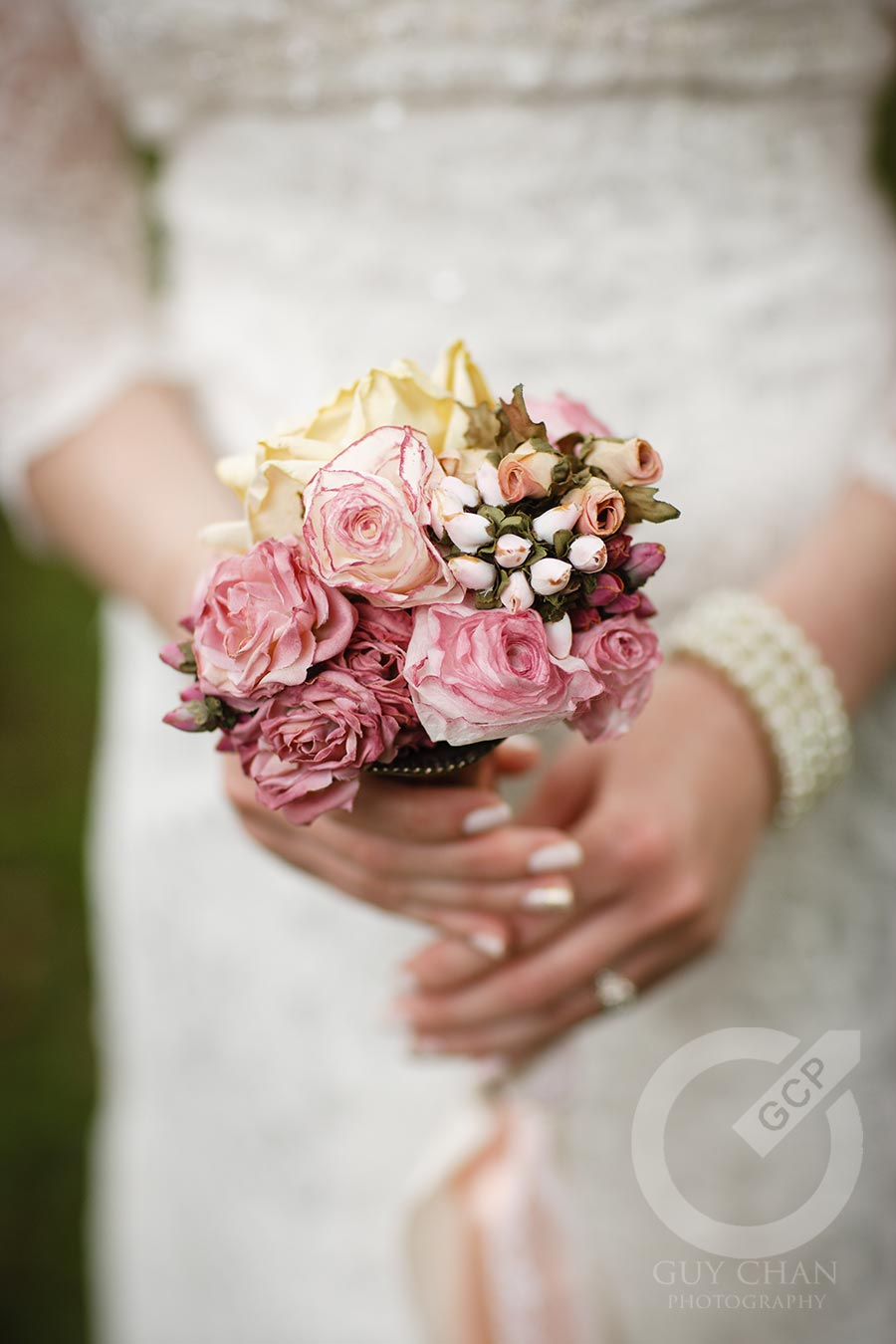 The Bouquet Was Made Mostly Of Fabric Flowers From My Bridal Shower With A Few Own Coffee Filter Roses