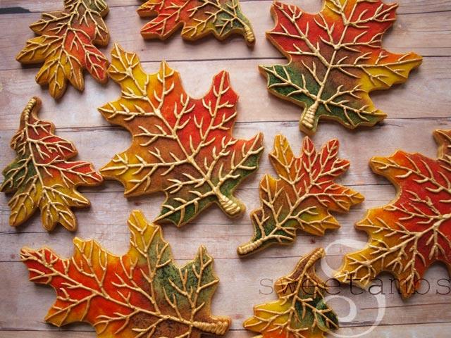 Fall Leaves Cookies by SweetAmbsSweetAmbs