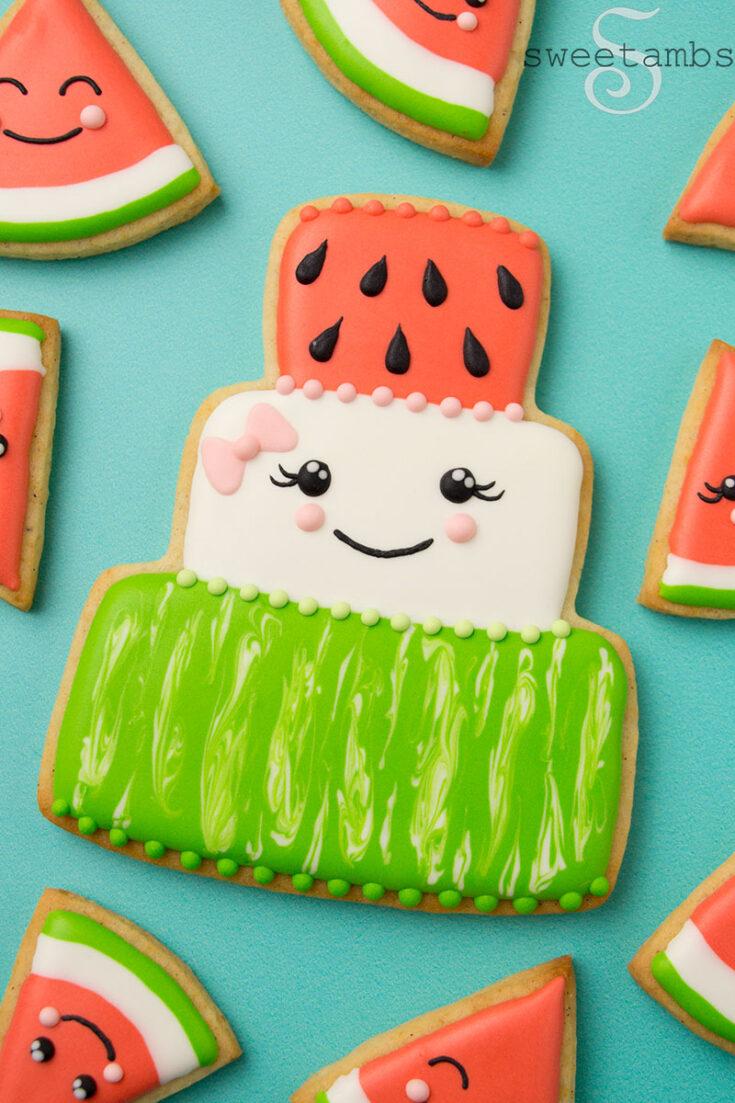Watermelon Cake Cookie And Watermelon Slice Cookies Sweetambssweetambs